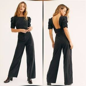 Free People Sabrina Set Black Denim Jumpsuit Set